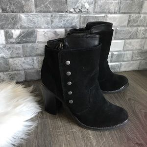 Zigi Girl absolute black leather suede ankle boots